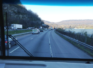 View through windshield of Tennessee River just outside of Chattanooga