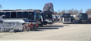 Image of RVs lined up on the Visone Lot
